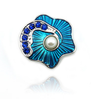 Wholesale Fashion Snap Buttons Fit Fashion Bracelets Rhinestone Flower Carved 19mm AK0175