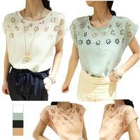 2014 New Arrival  Women Summer Casual Shirt Elegant  Flowers Batwing Sleeve  Hollow out T-Shirt Chiffon T-Shirt Top E3049-50