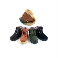 Genuine leather children shoes plus wool child cotton-padded shoes boys shoes female child boots slip-resistant child snow boots