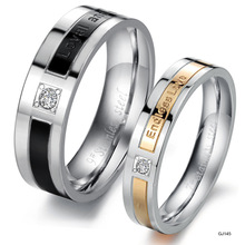 OPK JEWELRY promotion stainless steel couple finger ring fashion cool design love gift women size 5 to 9, men size 7 to 15 LS058