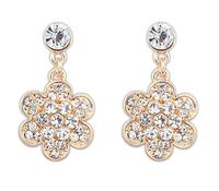 Hot sale 2014 new arrive Fashion Luxury Flower Alloy Rhinestone golden Drop earrings for Wedding Bride jewelly  Free shipping