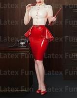 New Arrive Women's Formal Rubber Skirt Knee Length Latex Pleated Dress Free Shipping