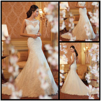 New 2014 Popular Hot Sale Mermaid Lace Wedding Dresses Transparent Lace Flower Straps Custom Size Bridal Gown