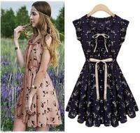 2014 new summer Pastoral style sleeveless dress women's sundress/vogue elegant Printed deer pattern retro sashes Dresses/WOW