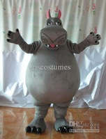 2014 Hot Sale Adult Cute Madagascar hippo cartoon Mascot Costume Fancy Party Dress Cartoon Costume Free Shipping