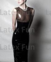 Elegant Rubber Sleeveless Straight Skirt Black Sexy Back Zip Party Latex Dress