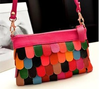 Free Shipping Fringed leather clutch evening bags new 2014 women messenger bag shoulder bags fashion change purse#  G162