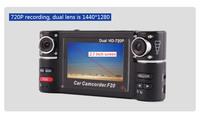 HD dashcam camera coche de carro recorder veicular car dvr blackbox F20 with video registrar 8 IR night vision dual lens