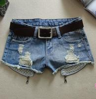 Free Shipping Fashion Personality pocket & zipper decorated women's Denim Shorts,Retro Hole ladies' Jeans Shorts JF5501