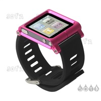 Free Shipping Case for iPod for Nano 6 6th Gen Aluminum Bracelet Watch Band Wrist Cover - Rose