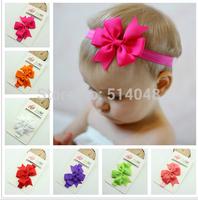 15pcs/lot  New Design Headband With Ribbon Bow Baby Elastic Headband Bow Hair Band Hair Accessory