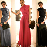 1pc 2014 New Women Ladies Sexy Turtleneck Open Back Long Maxi Beach Dress Evening Bar Club Party Gown Sundress