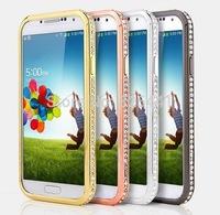 Fashion Luxury Jewel Crystal Bling Diamond Metal Frame Rhinestone Bumper Case Cover For Samsung Galaxy S4 SIV i9500 1pcs/lot