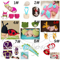 2sets Animal Design Baby Crochet Hats And Cover Set Photography Props Infant Baby Costume Clothes Free Shipping MZS-14012
