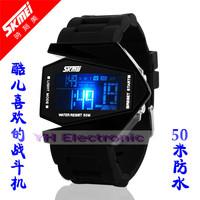 Original SKM 50M waterproof LED stealth aircraft fashion multifunctional electronic watch silicone watch Free shipping