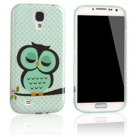 TPU Silcon Gel Skin Case Cover for Samsung Galaxy S4 SIV S IV I9500 Cute Sleepy Owl +phone sticker