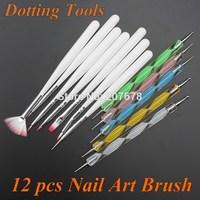 free shipping 12pcs Nail Art Design Set Dotting Painting Drawing Polish Brush Pen Tools