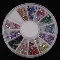Mix 12 Colours Arcylic 2mm Round Crystal DIY Nail Art Tip Decoration Nail Stud Round Wheel Free Shipping
