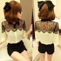 2010 free shipping 2014 women new fashion black lace patchwork long sleeve chiffon shirts ladies plus big size blouses S-XXXL