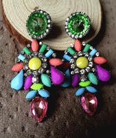 Fashion Earrings Colorful Crystal Resin statement earrings 2014 Pendants Vintage Earrings For Women Wholesale
