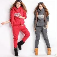 Free Shipping New women thick hoodie set sport suit, (hoodie,pants,vest) 3pcs/set 4colors full size good quailty
