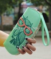 2014 Round Owl Clutch Checkbook Money Clip Change Bag Women Purse Handbag Wallet