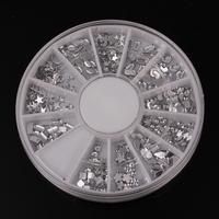 Mix 12 Design Arcylic Clear Crystal DIY Nail Art Tip Decoration Nail Stud Round Wheel Free Shipping