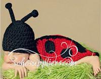 Retail!2014 Fashion Newborn Boy&Girl Ladybug Design Crochet Baby Clothing Photography Props Infant Costume Outfits1set MZS-14001