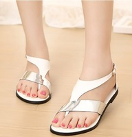 fashion colors block Belt buckle summer female shoes woman cut outs 2014 ladies flats sandals for women NZ140036