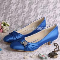 Blue Satin Low Heel Shoes, Custom-made Wedding Shoes