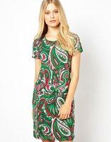 2014 New European Style Summer leisure fashion women phoenix feather printed female short sleeve dress,WD0151