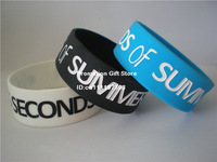 "5 Seconds of Summer Wristband, 5 SOS Silicon Bracelet, Adult, 1"" Wide Band, Promotion Gift, 3Colours, 50pcs/Lot, Free Shipping"