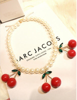 Free shipping colar de cereja 2014 fashion bijou jewelry women sweet pearl short necklace hot sale red cherries pendant necklace
