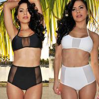 2014  Pinup Rockabilly Vintage High Waist Bikinis Set Swimsuit Swimwear Push Up Bathing Suit Beachwear For Women Black & White