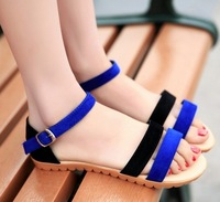 cut outs fashion girls colors block Belt buckle summer flats shoes woman 2014 ladies Ankle Strap sandals for women NZ140168