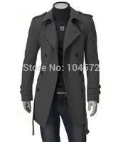 2014 Special Offer Long Men jacket Menswear Large Size British Stylish Fashion Woolen Outerwear Windbreaker Black/gray M--3XL