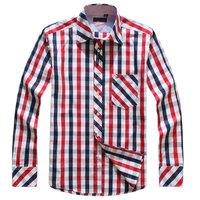Free Shipping 2014 New Arrival  Shirts Spring  Men Casual Plaid Shirt Long Sleeve Two wear Grid Shirts Men's Clothing Red Shirt