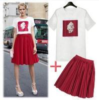 2014 women's fashion summer 100% cotton ladies short-sleeved printed T-shirt + skirt  S, M, L, XL  women's dress