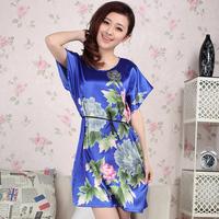 Summer Women sleepwear lounge casual small fresh faux silk short-sleeve nightgown