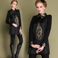 Women Black Embroidery Dress 2014 Spring Long Sleeve Peter Pan Collar Palace Vintage Organza Dress