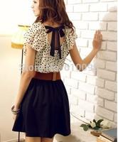new summer 2014 women's sweet temperament waisted dress dot dress