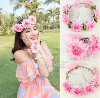 Fashion Bride Wedding Hair Band Type Bridal Wreath Holder Hoop Pink ha0407