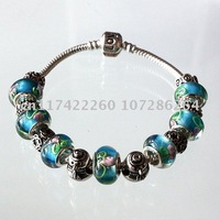 Aliexpress Hot Selling Summer LOVE Charm Bracelet For Women made of blue rose glass beads Fashion Jewelry PA1022