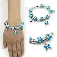 2014 NEW 925 Silver Chamilia Bead Blue Butterfly Charm Bracelet for Women European Handmade Fashion Bijoux Jewellery PA1311