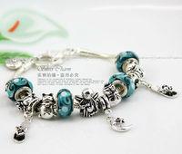 Alibaba Express Hot Sell European Style 925 Silver Charm Bracelet Women with Lampwork Glass Beads Fashion Jewelry PA1290