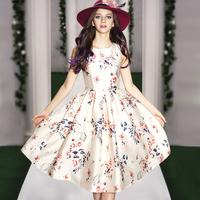 2014 New Fashion Europe Women Summer Sleeveless High Waist Print Dress Bowknot Pleated Floral Dress