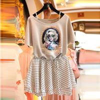 Z 2014 female fashion head portrait print short-sleeve T-shirt polka dot bust skirt set
