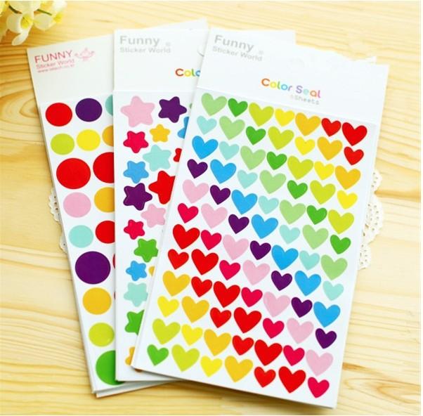 18 Scrapbooking Stickers Lot / Rainbow Star Dots Heart Diary Decoration Sticker Paper Supplies CC02(China (Mainland))
