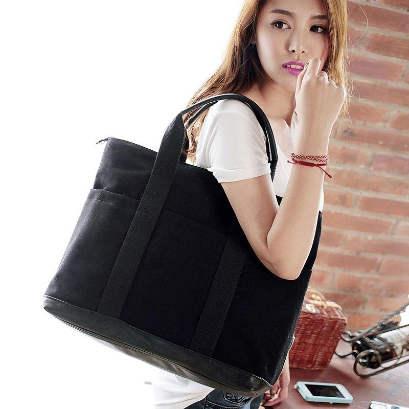 New Vintage shoulder bag large capacity fashion canvas handbag tote casual shoulder bag blue brown free shipping(China (Mainland))
