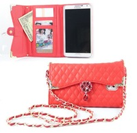 The chain mobile phone  case For samsung galaxy NOTE III,Ling plaid handbag,free shipping